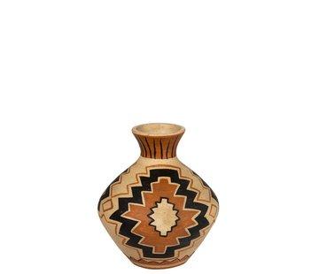 J -Line Flessen Vaas Terracotta Ethnic Mix Kleuren - Small