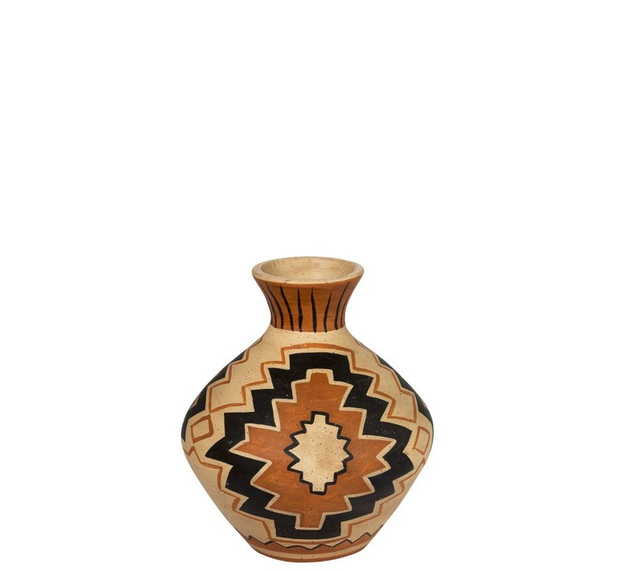 Flessen Vaas Terracotta Ethnic Mix Kleuren - Small