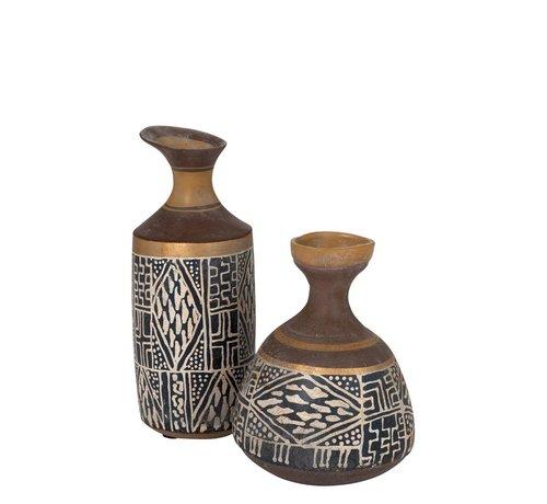 J -Line Bottles Vase Eco mix Ethnic Blue - Brown