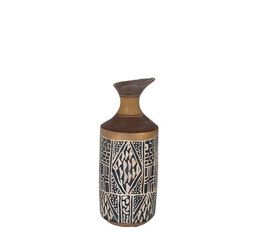 J -Line Bottles Vase Eco mix Ethnic Blue - Brown