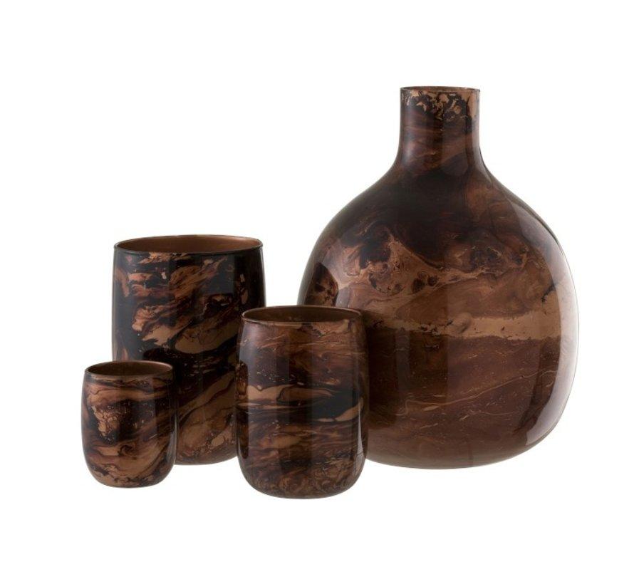Flessen Vaas Glas Mix Bruin - Large