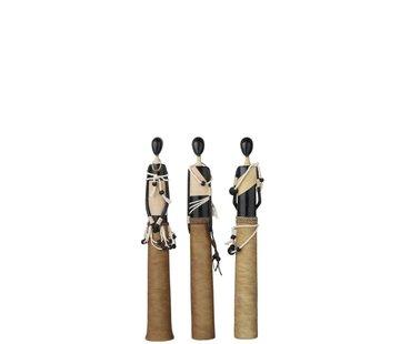 J-Line Decoratie Beeldjes Afrikaanse Figuren Zwart - Beige