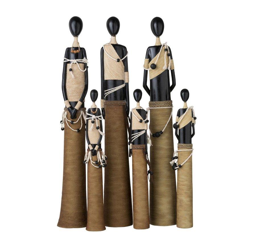 Decoratie Beeldjes Afrikaanse Figuren Zwart - Beige