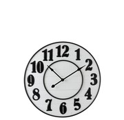 J -Line Wall Clock Round Arabic Numbers Wood White Metal - Black