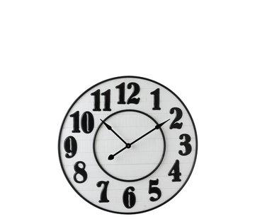 J -Line Wall Clock Round Arabic Numbers Wood White Metal - Black