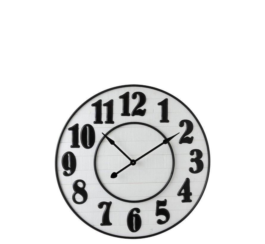 Wall Clock Round Arabic Numbers Wood White Metal - Black