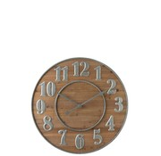 J -Line Wall Clock Arabic Numbers Natural - Silver