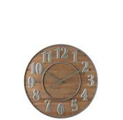 J -Line Wall Clock Round Wood Arabic Numbers Natural Metal - Silver