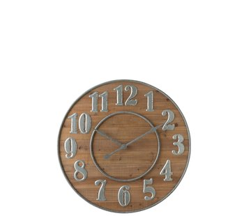 J -Line Wall Clock Round Wood Arabic Numbers Natural Metal - Silver