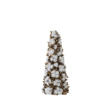 J -Line Decoration Cone Cotton Leaves White Brown - Small