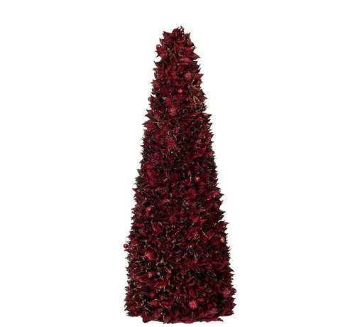 J -Line Decoration Cone Leaves Dark Red Gold - Large