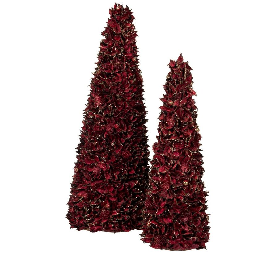Decoration Cone Leaves Dark Red Gold - Small
