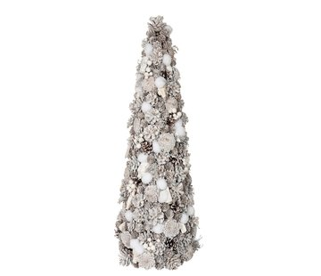J -Line Decoration Cone Pine Cones Cotton White - Large