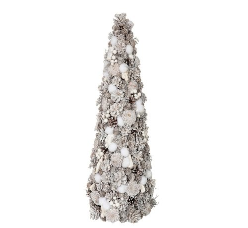 J -Line Decoration Cone Pine Cones Cotton White - Large