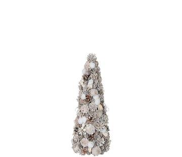J-Line Decoration Cone Pine Cones Cotton White - Small