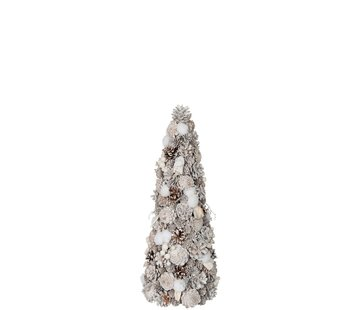 J -Line Decoration Cone Pine Cones Cotton White - Small