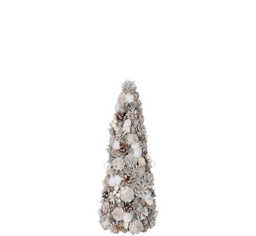 J -Line Decoration Cone Pine Cones Cotton White - Small