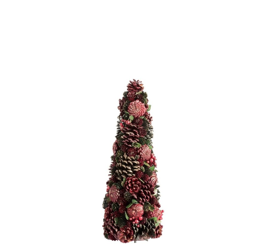 Decoratie Kegel Dennenappels Bessen Rood Groen - Small