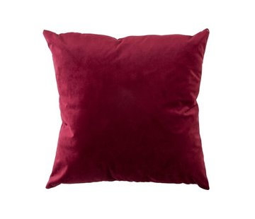 J -Line Cushion Velor Square Red - Bordeaux