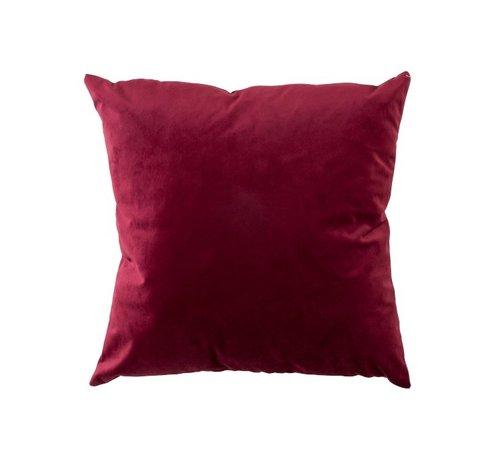 J -Line Cushion Velor Square Red - Bordeaux
