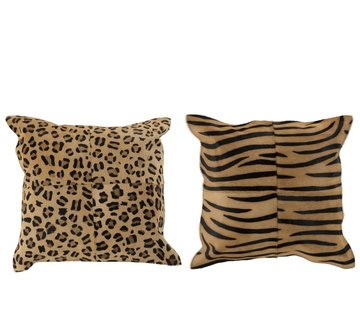J -Line Cushion Leather Square Animal print Brown - Black
