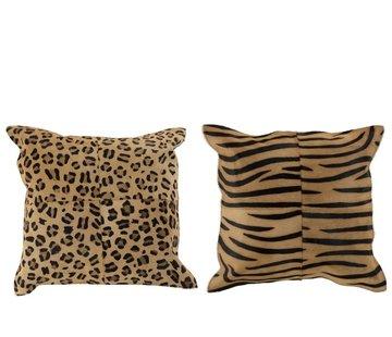 J-Line Cushion Leather Square Animal print Brown - Black