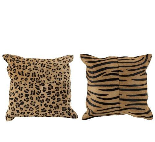 J -Line Cushion Leather Square Animal print Brown - Black