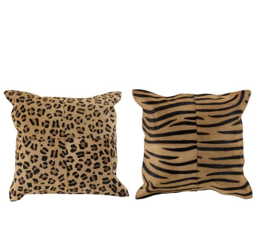 Cushion Leather Square Animal print Brown - Black