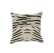 J -Line Kussen Leer Vierkant Dierenprint Zebra Zwart - Wit