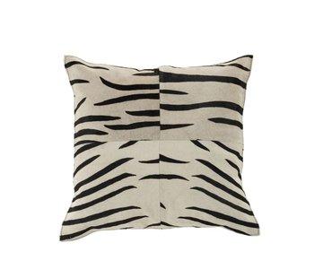 J-Line  Kussen Leer Vierkant Dierenprint Zebra Zwart - Wit