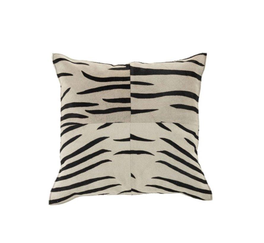 Cushion Leather Square Animal print Zebra Black - White