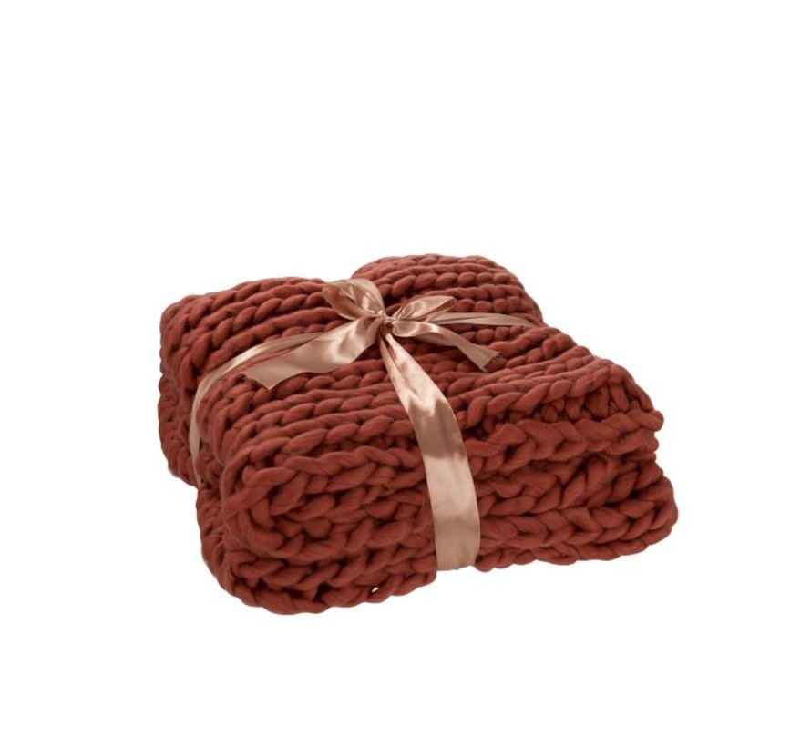 Plaid Knitted Acrylic Soft - Red