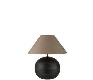J -Line Tafellamp Bol Mangohout Donkergrijs - Small