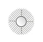 J-Line Wall Mirror Round Bars Metal Glass - Black