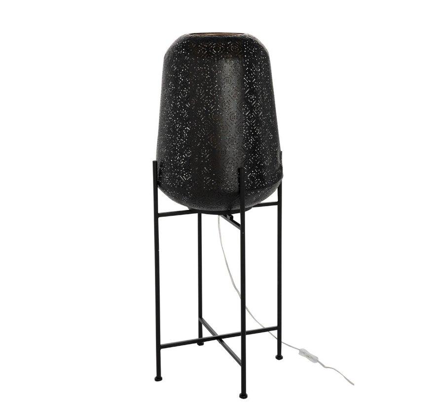 Floor Lamp Metal Oriental Foot Black - Large