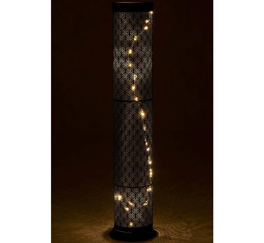 Floor Lamp Metal Tube Oriental Black - Large