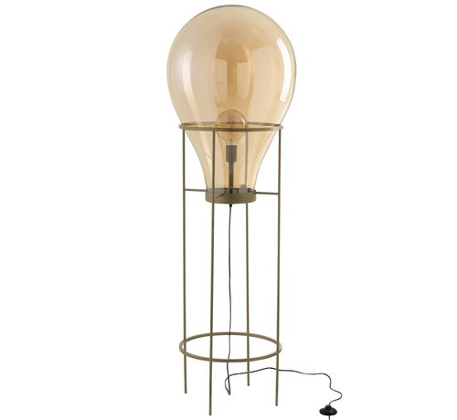 J -Line Standing Lamp Hot Air Balloon Glass Metal Gold - Large