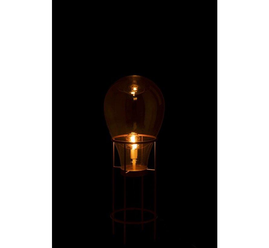 Standing Lamp Hot Air Balloon Glass Metal Gold - Medium