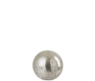 J-Line Tafellamp Bol Glas Led Zilver - Small