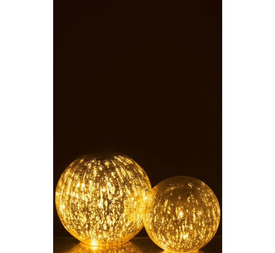 Tafellamp Bol Glas Led Zilver - Small