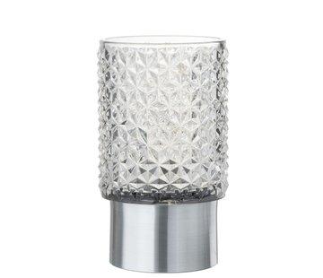 J-Line Theelichthouder Led Glas Relief Transparant - Zilver