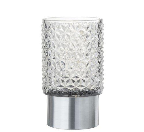 J -Line Theelichthouder Led Glas Relief Transparant - Zilver