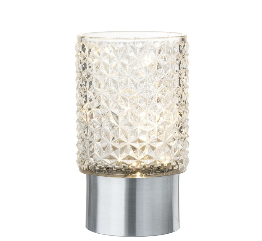 Theelichthouder Led Glas Relief Transparant - Zilver