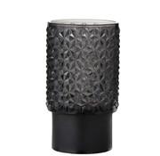 J -Line Tealight holder Led Glass Relief Gray - Black