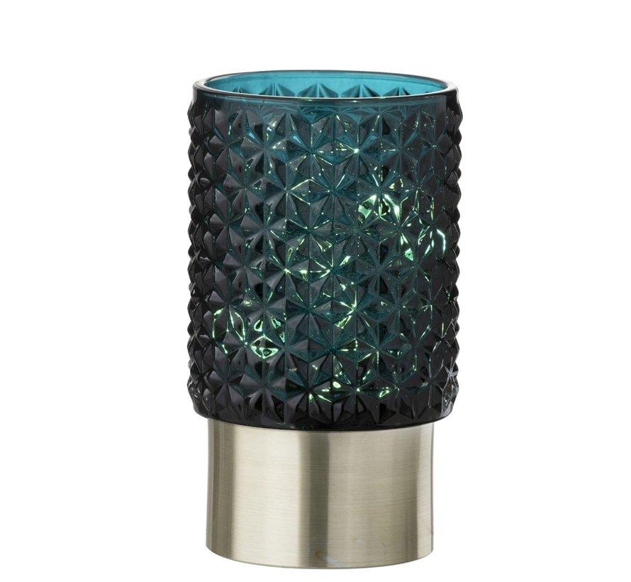 Theelichthouder Led Glas Relief Blauw - Zilver