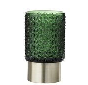 J -Line Tealight holder Led Glass Relief Green - Silver