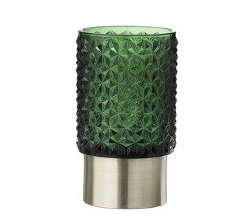 J -Line Theelichthouder Led Glas Relief Groen - Zilver