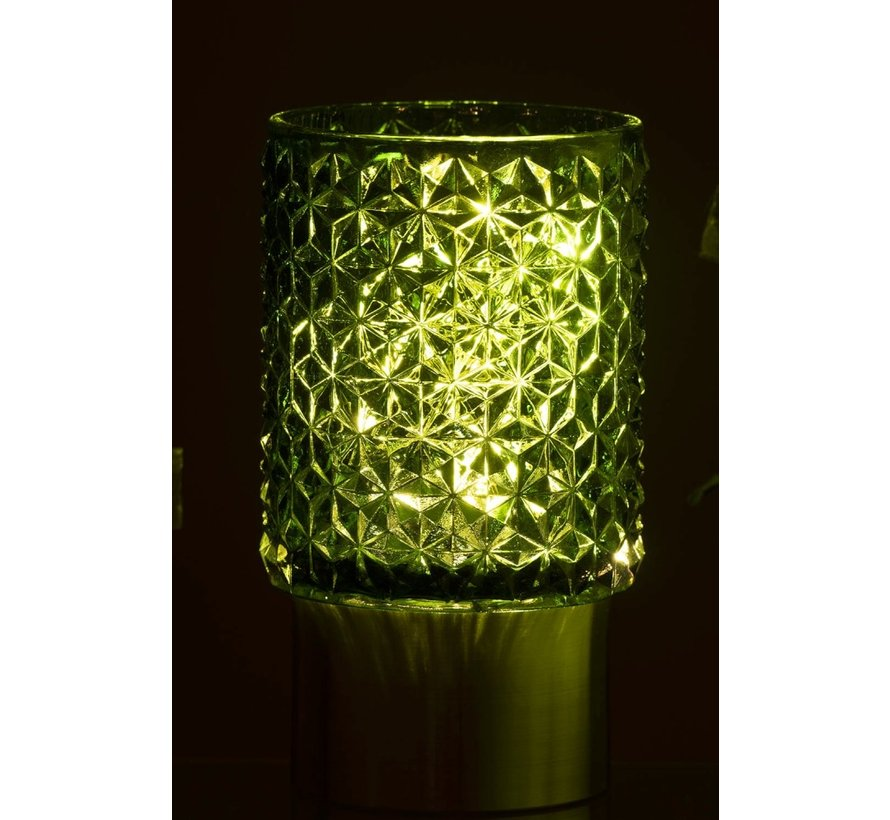 Tealight holder Led Glass Relief Green - Silver