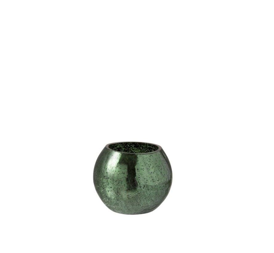 Theelichthouder Bol Glas Groen - Small