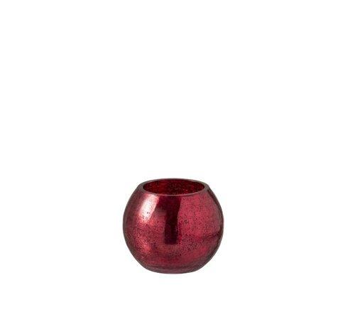 J -Line Theelichthouder Bol Glas Blinkend Rood - Small